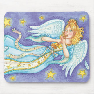 Cute Christmas, Musician Angel Playing Her Horn Mouse Pad
