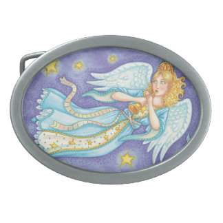 Cute Christmas, Musician Angel Playing Her Horn Oval Belt Buckle