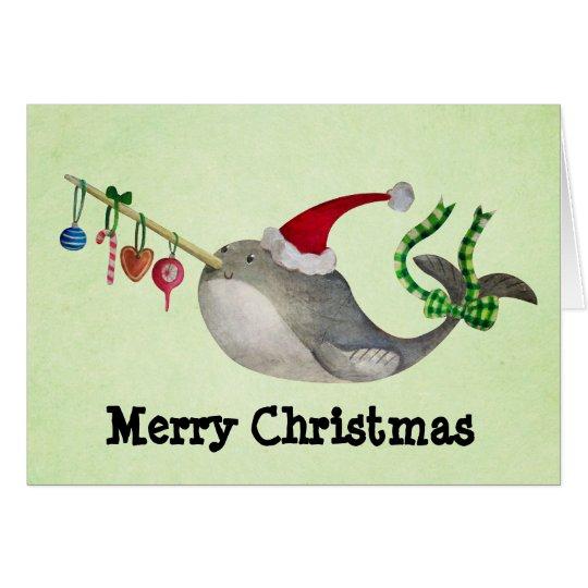 Cute Christmas Narwhal Card
