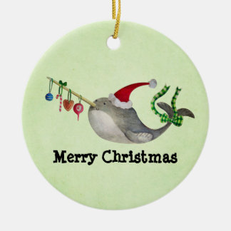 Cute Christmas Narwhal Ceramic Ornament