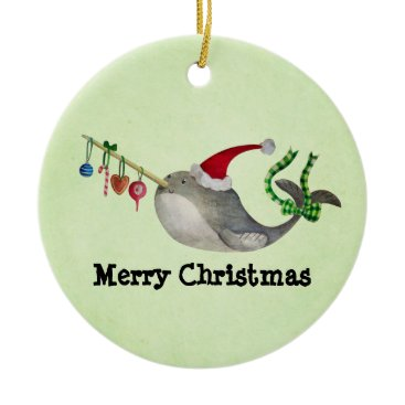 Christmas Themed Cute Christmas Narwhal Ceramic Ornament