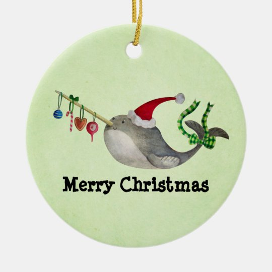 cute christmas narwhal ceramic ornament - Narwhal Christmas Decoration