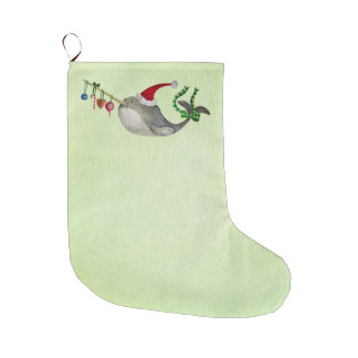 Cute Christmas Narwhal Large Christmas Stocking