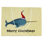Cute Christmas Narwhal Large Gift Bag