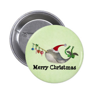 Cute Christmas Narwhal Pinback Button