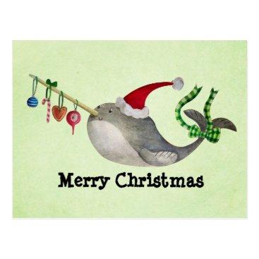 Christmas Themed Cute Christmas Narwhal Postcard