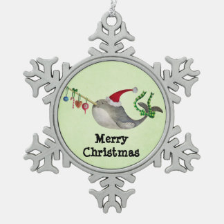 Cute Christmas Narwhal Snowflake Pewter Christmas Ornament