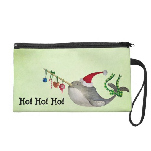 Cute Christmas Narwhal Wristlet