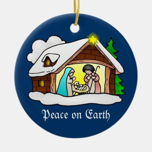 Cute Christmas Nativity Scene Peace on Earth Ornaments from Zazzle.
