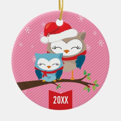 CUTE CHRISTMAS ORNAMENT :: festive owl couple