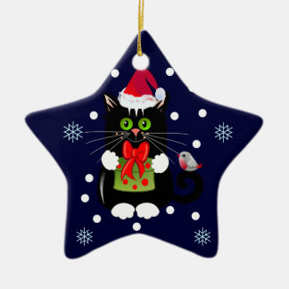 Cute Christmas ornament Star with Cat and Robin