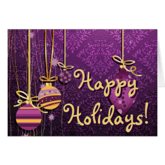 Cute Christmas Ornaments On Retro Purple Damask Greeting Cards