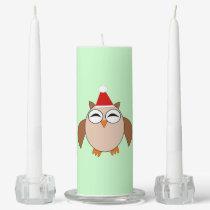 Cute Christmas Owl Candle Set
