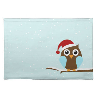 Cute Christmas Owl Cloth Placemat