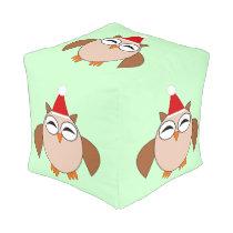 Cute Christmas Owl Cube Pouf