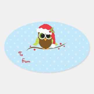 Cute Christmas Owl Gift tag Sticker Sheet