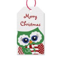 Cute Christmas Owl Holiday Gift Tag