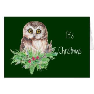 Cute Christmas Owl Humor, Watercolor Bird Greeting Card