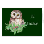 Cute Christmas Owl Humor, Watercolor Bird Cards