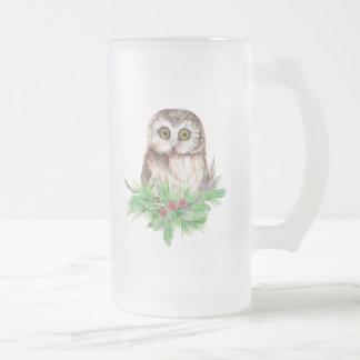 Cute Christmas Owl Humor, Watercolor Bird Frosted Glass Beer Mug