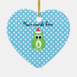 Cute christmas owl Double-Sided heart ceramic christmas ornament