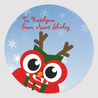 Cute Christmas Owl Personalized Gift Tag Stickers