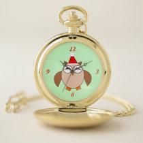 Cute Christmas Owl Pocket Watch
