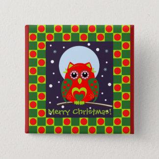 Cute Christmas Owl & Polka dots button