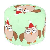 Cute Christmas Owl Round Pouf