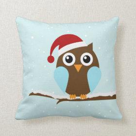 Cute Christmas Owl Throw Pillows