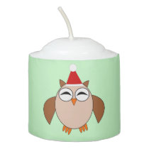 Cute Christmas Owl Votive Candle