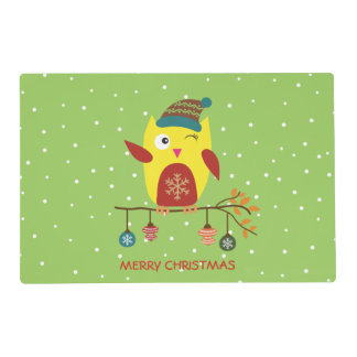 Cute Christmas Owl Winter Illustration Placemat