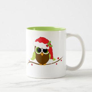 Cute Christmas Owl with Santa Hat Mug
