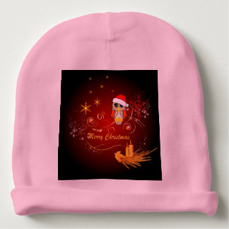 Cute christmas owl with snowflakes baby beanie