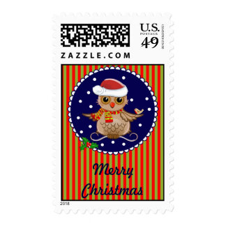 Cute Christmas Owl with Text postage