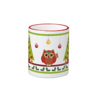 Cute Christmas Owls and trees mug