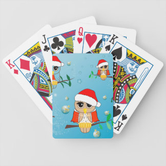 Cute christmas owls bicycle poker cards