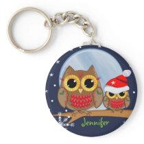 Cute Christmas Owls & Custom Name Keychain