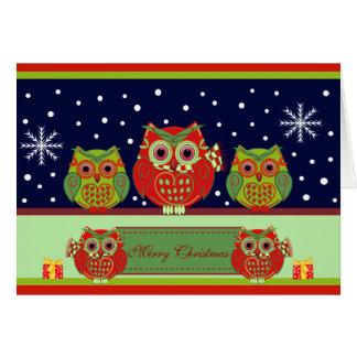 Cute Christmas Owls & Custom Text card