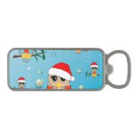 Cute christmas owls magnetic bottle opener