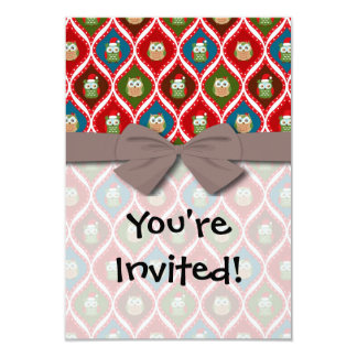 cute christmas owls pattern personalized invites