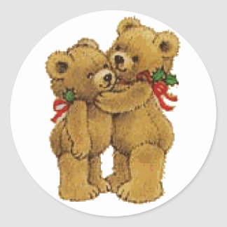 Cute Christmas Pair Classic Round Sticker