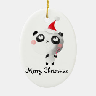 Cute Christmas Panda Bear Ceramic Ornament
