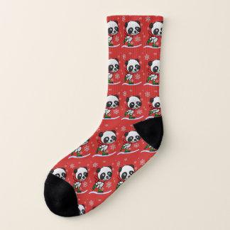 Cute Christmas Panda Bear Ice Skating Custom Color Socks