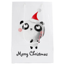 Cute Christmas Panda Bear Medium Gift Bag