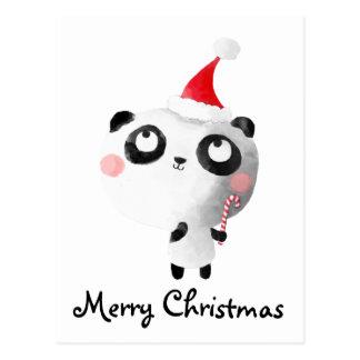 Cute Christmas Panda Bear Post Card