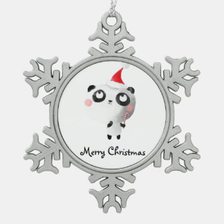 Cute Christmas Panda Bear Snowflake Pewter Christmas Ornament