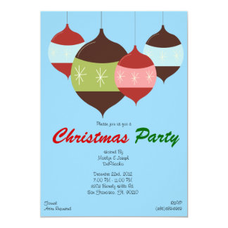 CUTE Christmas Party Hanging Ornaments Holiday Inv Card