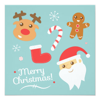 Cute Christmas Party with Reindeer, Santa Invites
