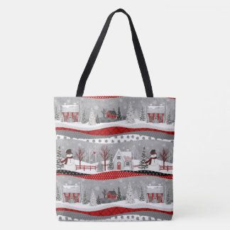 Cute Christmas Patchwork  ALL OVER PRINT TOTE